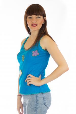 Maiou cu broderie - Flowers Albastru2