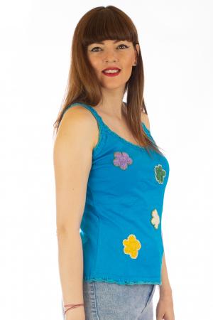 Maiou cu broderie - Flowers Albastru3