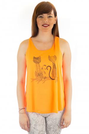 Maiou neon portocaliu subtire de vara - Twin Cats0