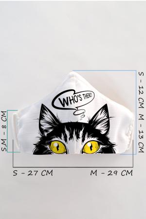 Masca bumbac cu filtru pentru adulti - Pisica1