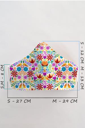 Masca bumbac cu filtru pentru adulti - Flower Frenzy2