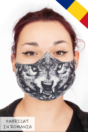 Masca bumbac cu filtru pentru adulti - Grey Wolf0