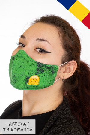 Masca bumbac cu filtru pentru adulti - Smiley Verde0