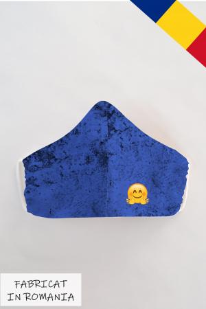 Masca bumbac cu filtru pentru adulti - Smiley Albastru0