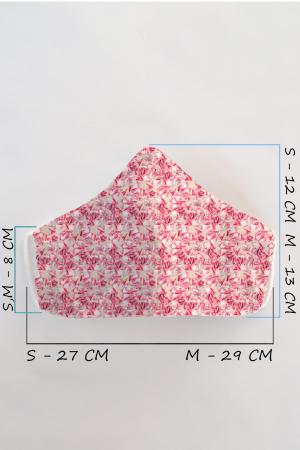 Masca bumbac cu filtru pentru adulti - Roz1