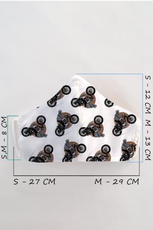 Masca bumbac cu filtru pentru copii - Motocicleta1