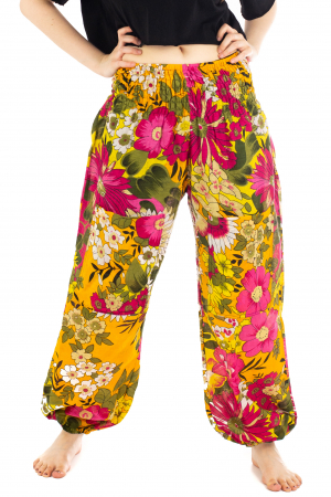 Pantaloni cu banda elastica si motive florale [0]