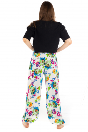 Pantaloni cu banda elastica si motive geometrice [3]