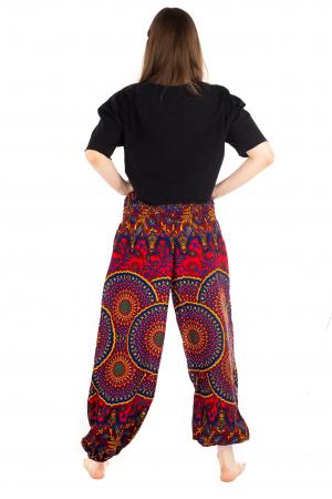Pantaloni cu banda elastica si motive Mandala [3]