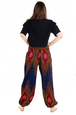 Pantaloni cu banda elastica si motive tip paun [3]