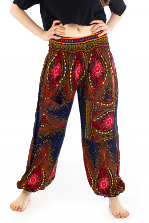 Pantaloni cu banda elastica si motive tip paun [0]