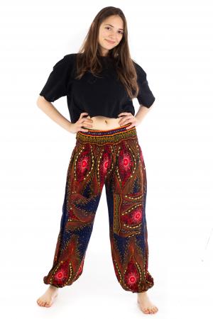 Pantaloni cu banda elastica si motive tip paun [1]