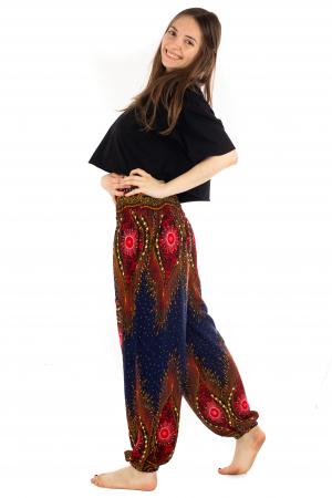 Pantaloni cu banda elastica si motive tip paun [2]