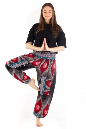 Pantaloni cu banda elastica si motive tip paun - Negru [3]
