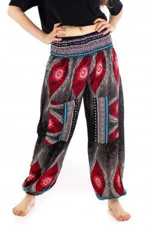 Pantaloni cu banda elastica si motive tip paun - Negru [0]
