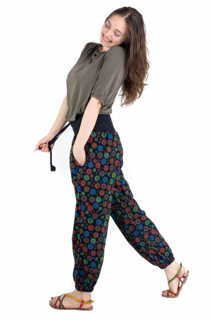 Pantaloni cu print - Flower Frenzy [1]