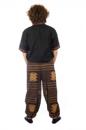 Pantaloni din bumbac cu buzunar exterior - Etno - Model 104
