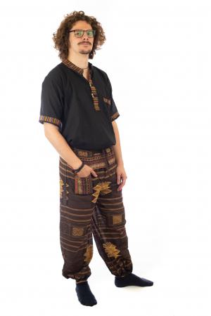 Pantaloni din bumbac cu buzunar exterior - Etno - Model 102
