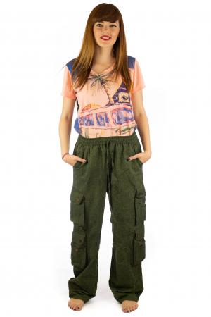 Pantaloni din bumbac cu buzunare - Khaki1
