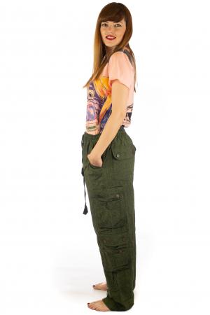 Pantaloni din bumbac cu buzunare - Khaki3