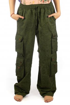 Pantaloni din bumbac cu buzunare - Khaki0