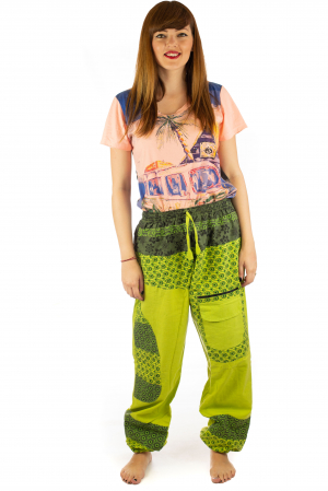 Pantaloni din bumbac cu print - Verde PT1401