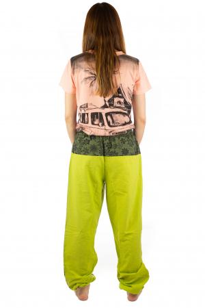 Pantaloni din bumbac cu print - Verde PT1407