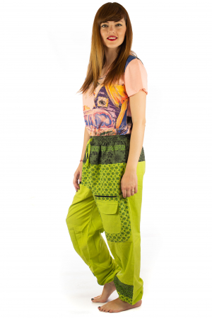 Pantaloni din bumbac cu print - Verde PT1403