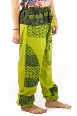 Pantaloni din bumbac cu print - Verde PT1406