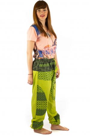 Pantaloni din bumbac cu print - Verde PT1405