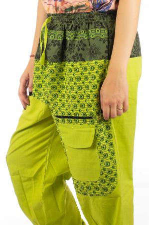 Pantaloni din bumbac cu print - Verde PT1404