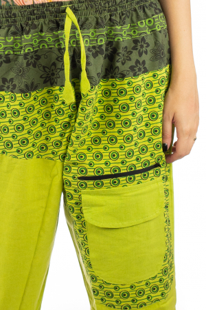 Pantaloni din bumbac cu print - Verde PT1402