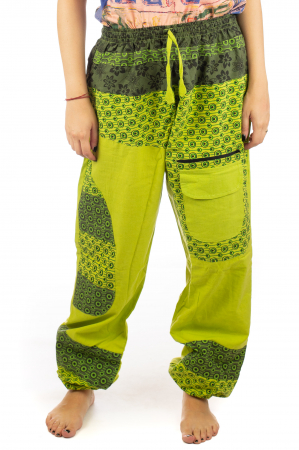 Pantaloni din bumbac cu print - Verde PT1400