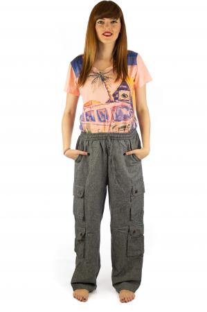 Pantaloni din bumbac cu buzunare - Gri1