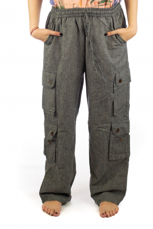 Pantaloni din bumbac cu buzunare - Gri0