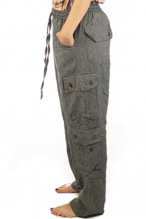 Pantaloni din bumbac cu buzunare - Gri4