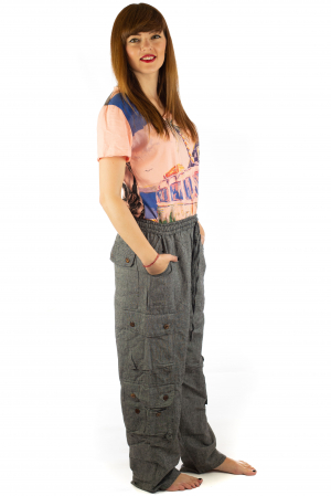 Pantaloni din bumbac cu buzunare - Gri5