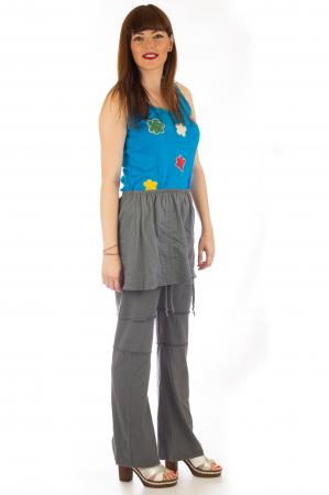 Pantaloni din bumbac cu fusta - Gri3