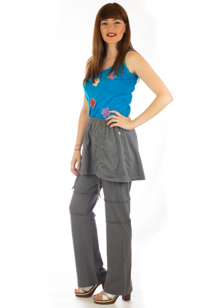 Pantaloni din bumbac cu fusta - Gri2