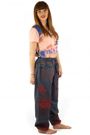 Pantaloni din bumbac cu print - Gri PT1404