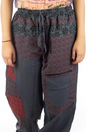Pantaloni din bumbac cu print - Gri PT1402