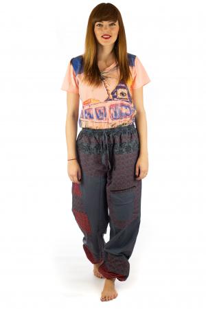 Pantaloni din bumbac cu print - Gri PT1401