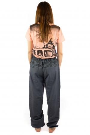 Pantaloni din bumbac cu print - Gri PT1406