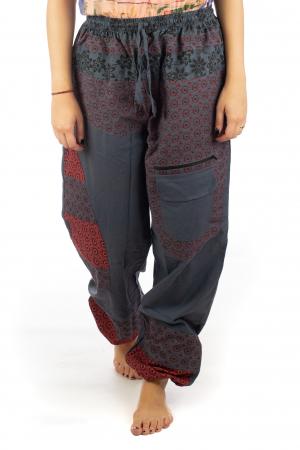 Pantaloni din bumbac cu print - Gri PT1400