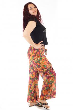 Pantaloni din bumbac subtire - Flower Frenzy - Mov [1]