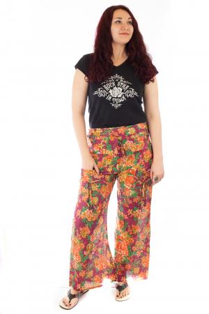 Pantaloni din bumbac subtire - Flower Frenzy - Mov [0]