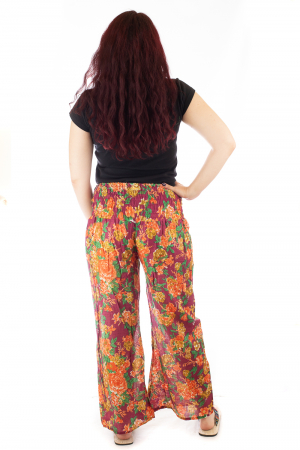Pantaloni din bumbac subtire - Flower Frenzy - Mov [2]