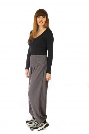 Pantaloni din polar cu banda elastica - Gri2