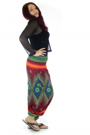 Pantaloni Jasmine cu print oriental - Model 102