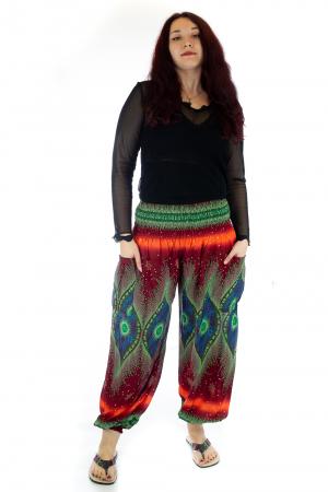 Pantaloni Jasmine cu print oriental - Model 100